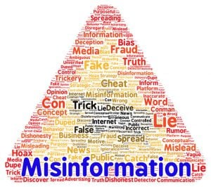 "A triangle warning sign made up of words like ""lie,"" ""false,"" and ""fraud."" The image is labeled ""Misinformation"""