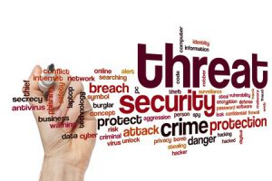 """A collage made of words like """"threat,"""" """"security,"""" and """"crime"""""""